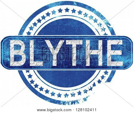 blythe grunge blue stamp. Isolated on white.