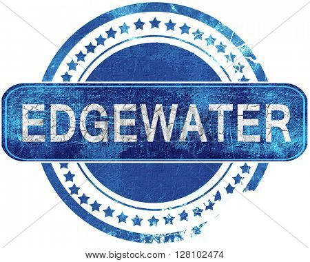 edgewater grunge blue stamp. Isolated on white.