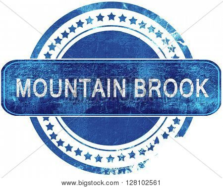 mountain brook grunge blue stamp. Isolated on white.