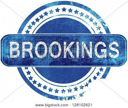 brookings grunge blue stamp. Isolated on white.