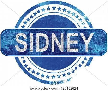 sidney grunge blue stamp. Isolated on white.