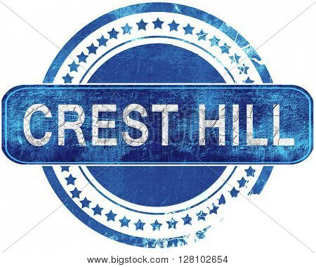 crest hill grunge blue stamp. Isolated on white.
