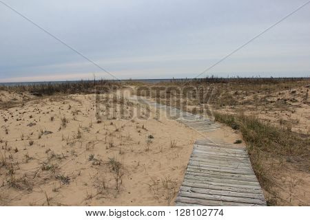 A boardwalk runs down to Lake Michigan in Sleeping Bear Dunes National Lakeshore, Michigan.