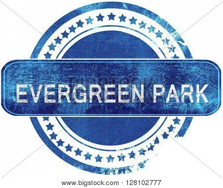 evergreen park grunge blue stamp. Isolated on white.
