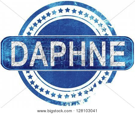 daphne grunge blue stamp. Isolated on white.