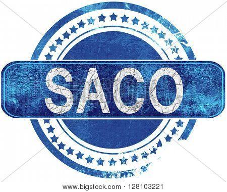 saco grunge blue stamp. Isolated on white.