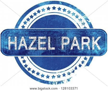 hazel park grunge blue stamp. Isolated on white.