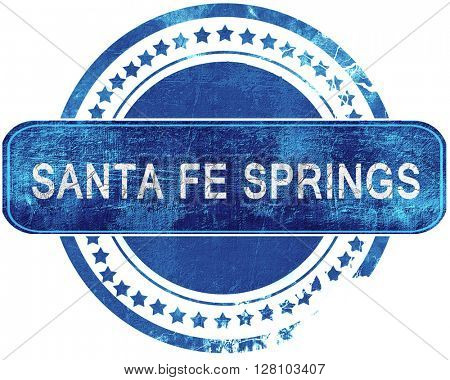 sante fe springs grunge blue stamp. Isolated on white.