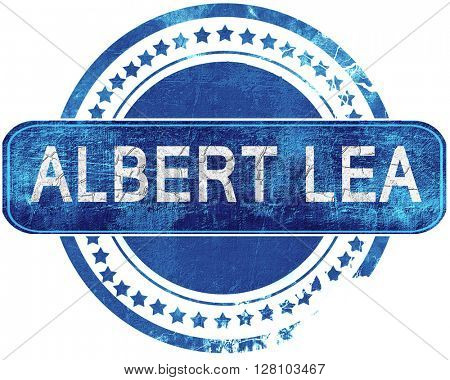 albert lea grunge blue stamp. Isolated on white.