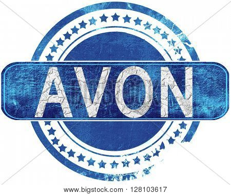 avon grunge blue stamp. Isolated on white.