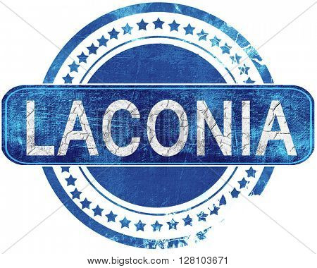laconia grunge blue stamp. Isolated on white.
