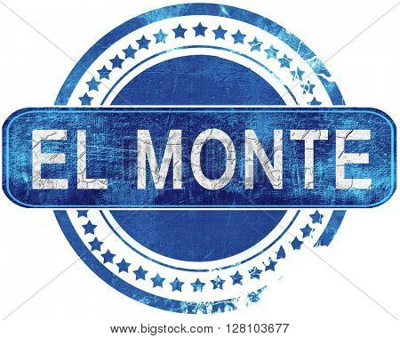 el monte grunge blue stamp. Isolated on white.