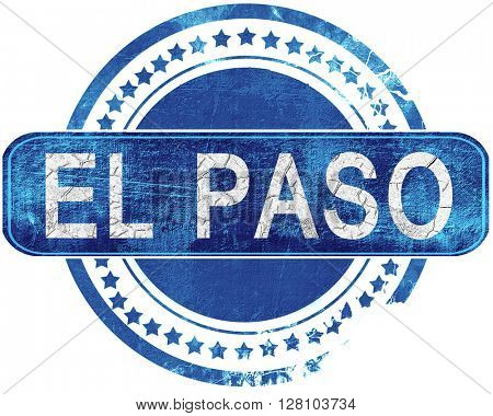 el paso grunge blue stamp. Isolated on white.