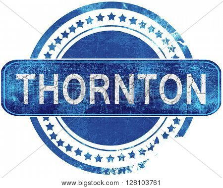 thornton grunge blue stamp. Isolated on white.