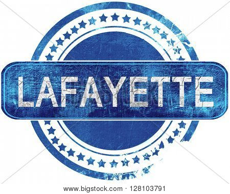 lafayette grunge blue stamp. Isolated on white.
