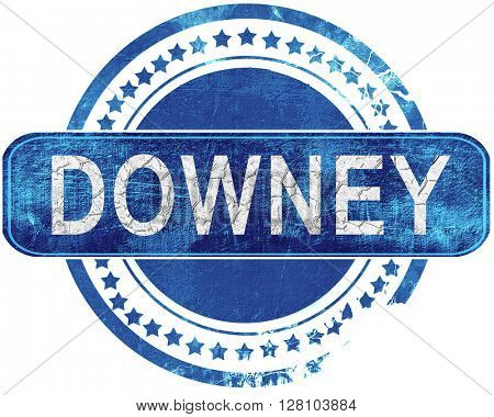 downey grunge blue stamp. Isolated on white.