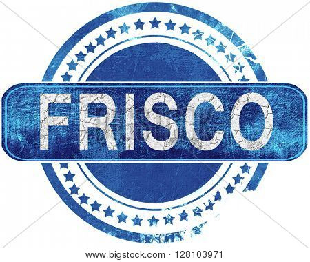 frisco grunge blue stamp. Isolated on white.