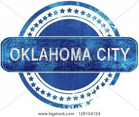 oklahoma city grunge blue stamp. Isolated on white.