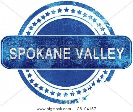 spokane valley grunge blue stamp. Isolated on white.