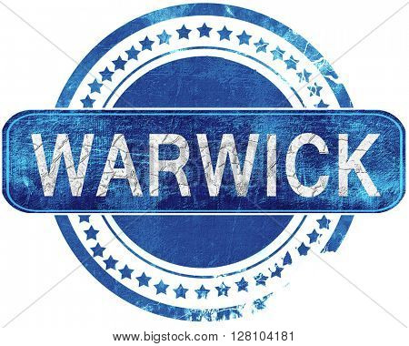 warwick grunge blue stamp. Isolated on white.