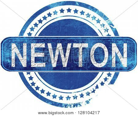 newton grunge blue stamp. Isolated on white.