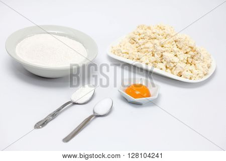 Cassava bread preparation : Ingredients to prepare colombian cassava bread (Pandeyuca)