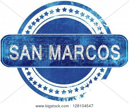 san marcos grunge blue stamp. Isolated on white.