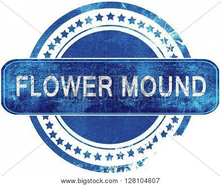 flower mound grunge blue stamp. Isolated on white.