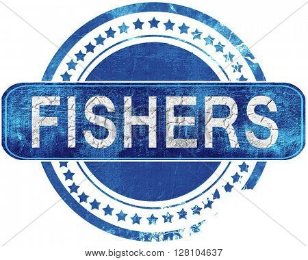 fishers grunge blue stamp. Isolated on white.