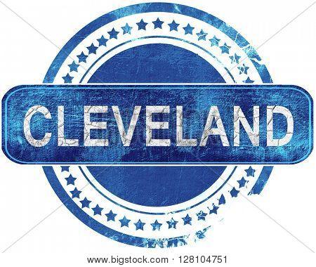 cleveland grunge blue stamp. Isolated on white.