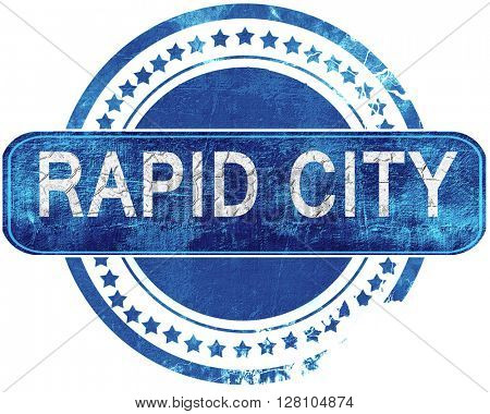 rapid city grunge blue stamp. Isolated on white.