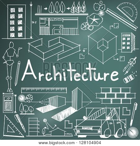 Architecture and architect design profession and building exterior blueprint handwriting doodle tool sign and symbol in blackboard background for education subject or presentation title create by vector