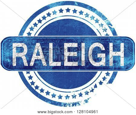raleigh grunge blue stamp. Isolated on white.