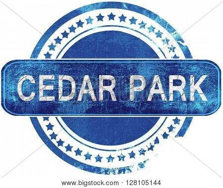 cedar park grunge blue stamp. Isolated on white.