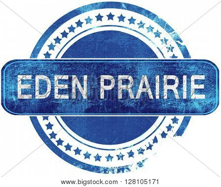 eden prairie grunge blue stamp. Isolated on white.