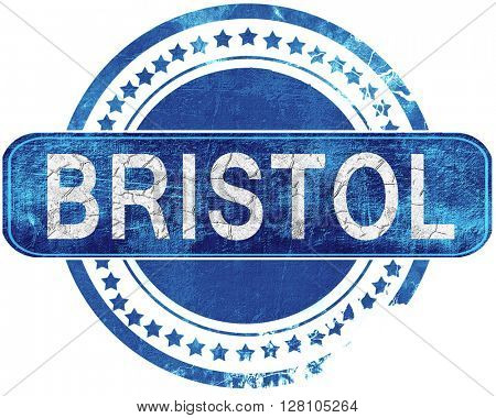 bristol grunge blue stamp. Isolated on white.