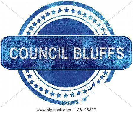 council bluffs grunge blue stamp. Isolated on white.