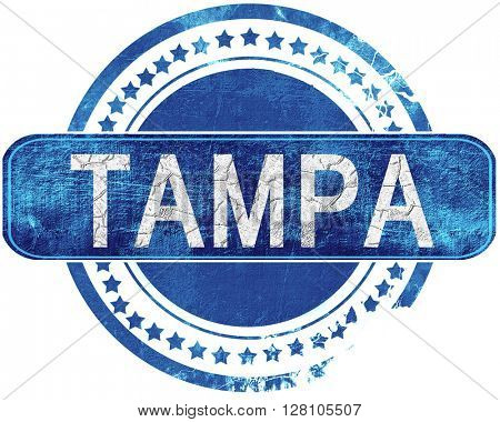 tampa grunge blue stamp. Isolated on white.