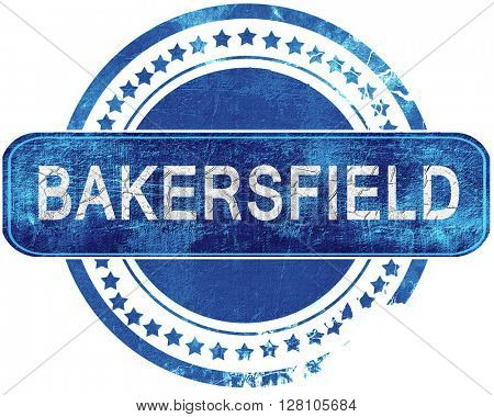 bakersfield grunge blue stamp. Isolated on white.
