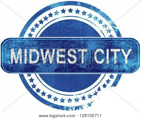 midwest city grunge blue stamp. Isolated on white.