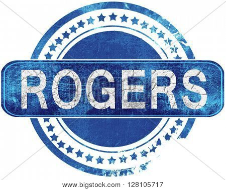 rogers grunge blue stamp. Isolated on white.