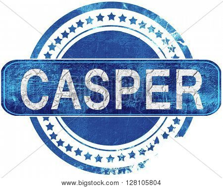 casper grunge blue stamp. Isolated on white.