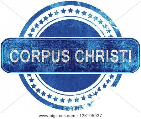 corpus christi grunge blue stamp. Isolated on white.