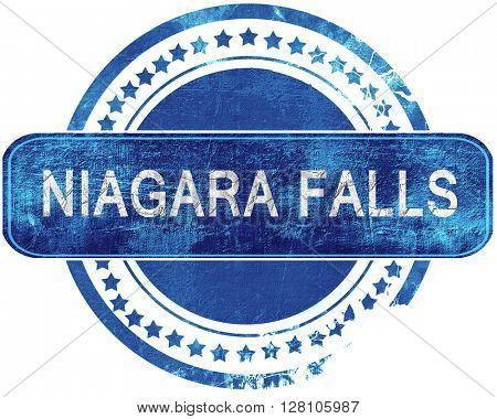 niagara falls grunge blue stamp. Isolated on white.