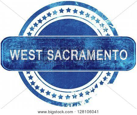 west sacramento grunge blue stamp. Isolated on white.