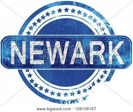 newark grunge blue stamp. Isolated on white.