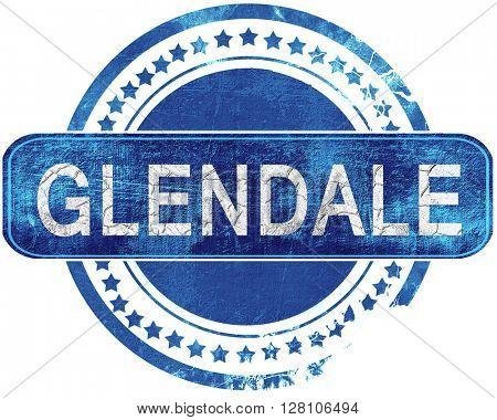 glendale grunge blue stamp. Isolated on white.