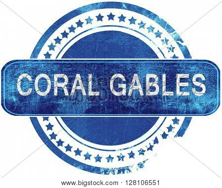 coral gables grunge blue stamp. Isolated on white.