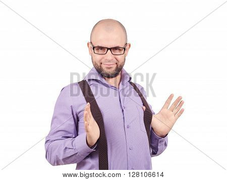 Funny Bald Man In Shirt Keeps Suspenders.