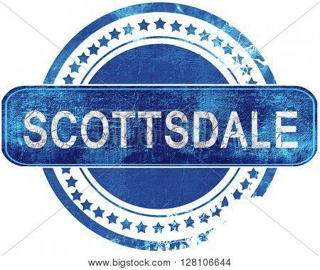 scottsdale grunge blue stamp. Isolated on white.